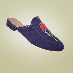 Yoki Denim Mule Flat Shoes